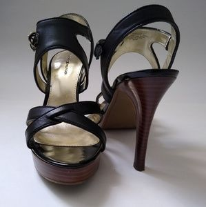 NEW Tommy Hilfiger Black Leather Strappy Stilettos